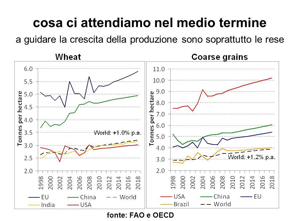 cosa ci attendiamo nel medio termine fonte: FAO e OECD a guidare la crescita della produzione sono soprattutto le rese