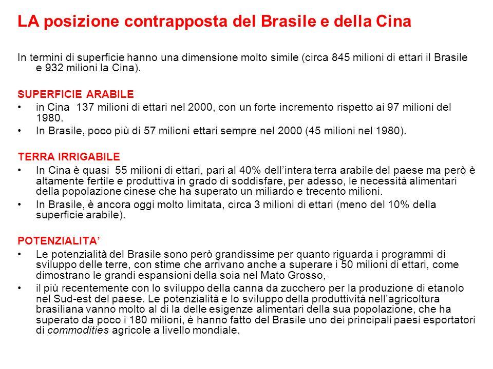 LA posizione contrapposta del Brasile e della Cina In termini di superficie hanno una dimensione molto simile (circa 845 milioni di ettari il Brasile e 932 milioni la Cina).