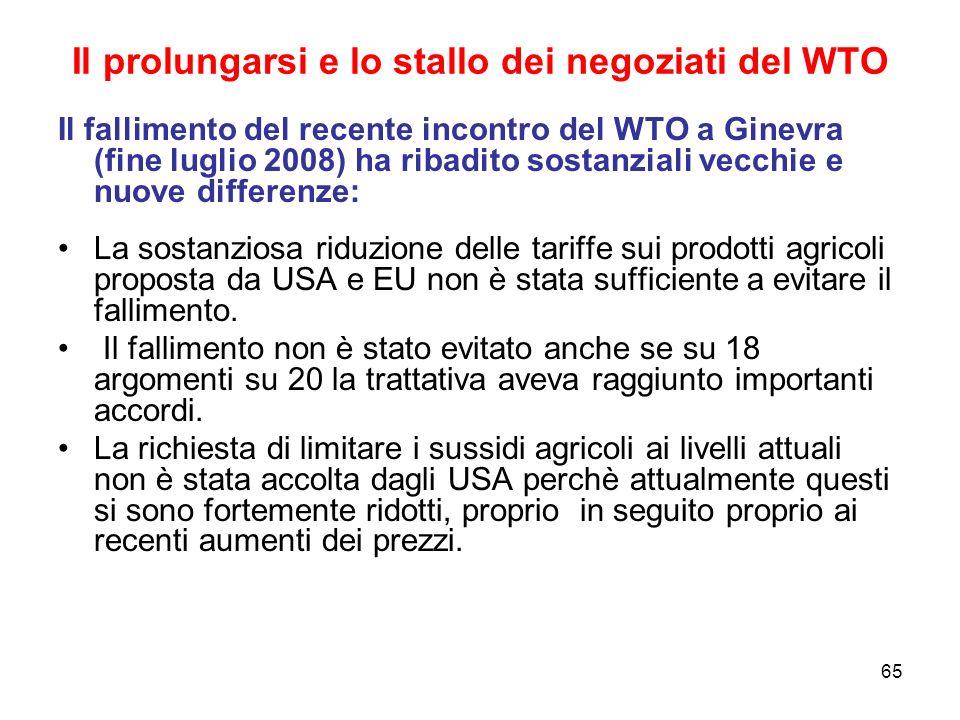 65 Il prolungarsi e lo stallo dei negoziati del WTO Il fallimento del recente incontro del WTO a Ginevra (fine luglio 2008) ha ribadito sostanziali vecchie e nuove differenze: La sostanziosa riduzione delle tariffe sui prodotti agricoli proposta da USA e EU non è stata sufficiente a evitare il fallimento.