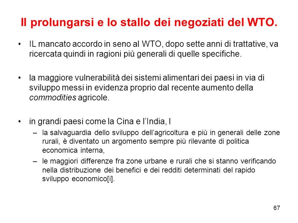 67 Il prolungarsi e lo stallo dei negoziati del WTO.