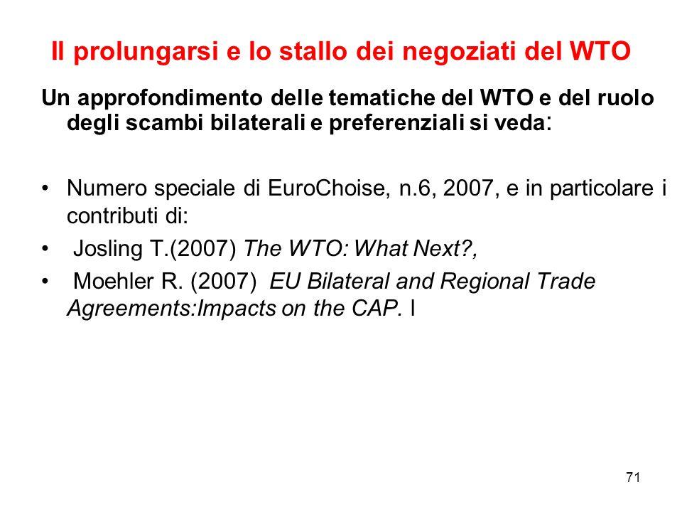 71 Il prolungarsi e lo stallo dei negoziati del WTO Un approfondimento delle tematiche del WTO e del ruolo degli scambi bilaterali e preferenziali si veda : Numero speciale di EuroChoise, n.6, 2007, e in particolare i contributi di: Josling T.(2007) The WTO: What Next?, Moehler R.