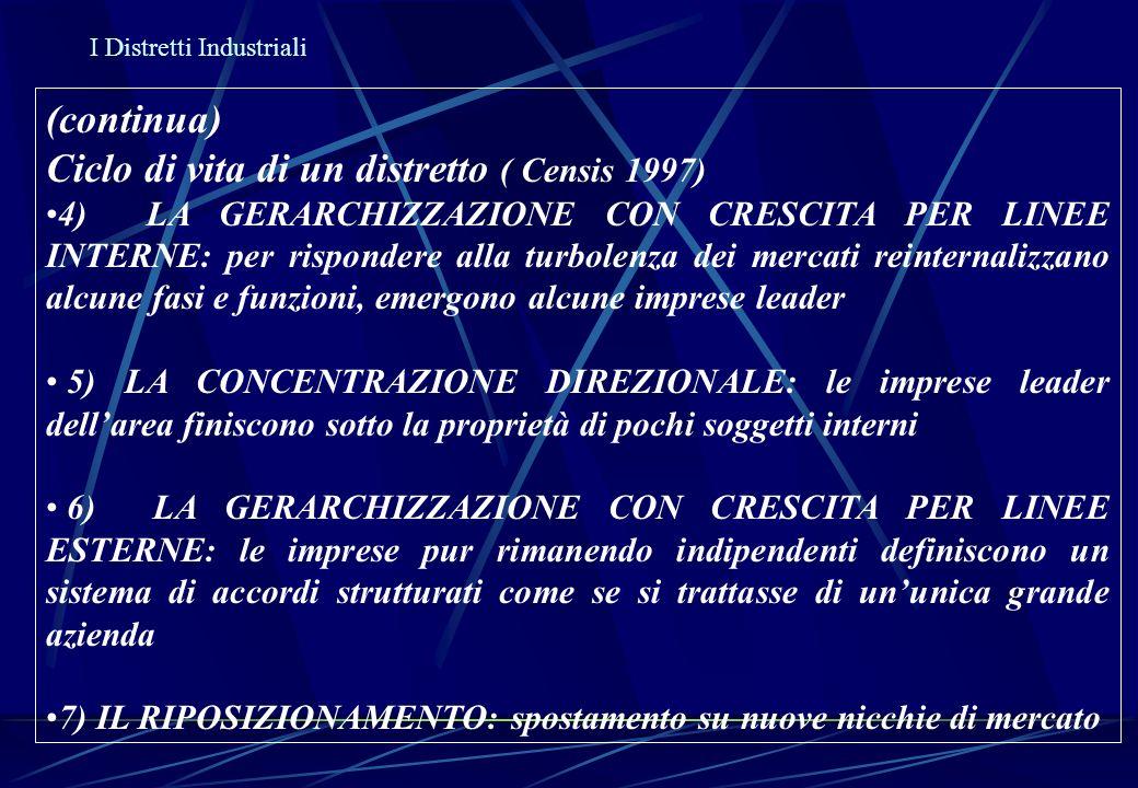 I Distretti Industriali (continua) Ciclo di vita di un distretto ( Censis 1997) 4) LA GERARCHIZZAZIONE CON CRESCITA PER LINEE INTERNE: per rispondere