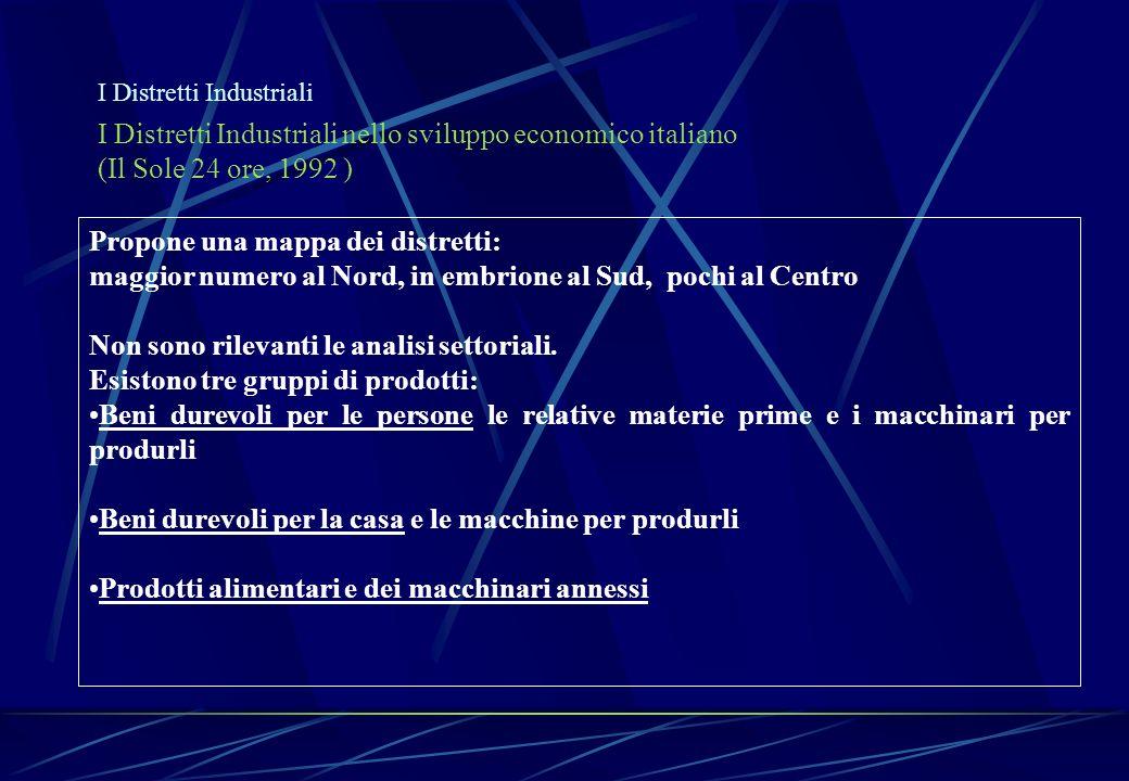 I Distretti Industriali I Distretti Industriali nello sviluppo economico italiano (Il Sole 24 ore, 1992 ) Propone una mappa dei distretti: maggior num
