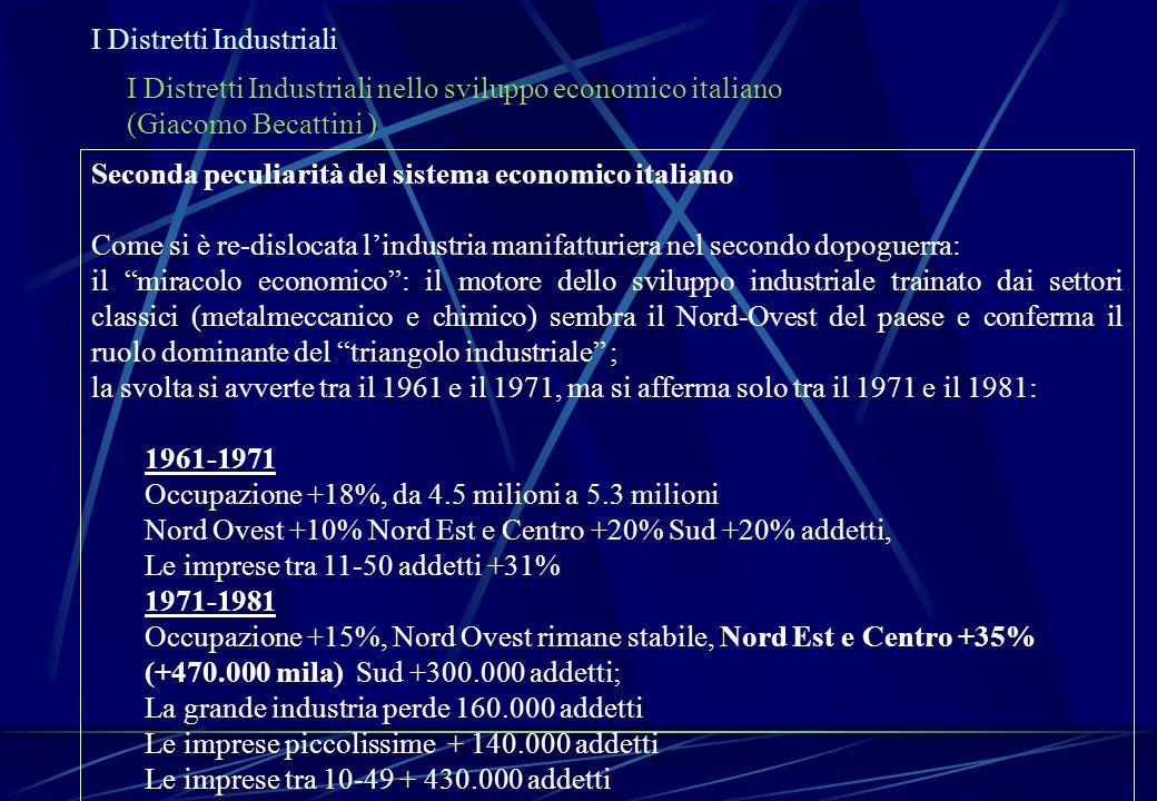 I Distretti Industriali I Distretti Industriali nello sviluppo economico italiano (Giacomo Becattini ) Seconda peculiarità del sistema economico itali