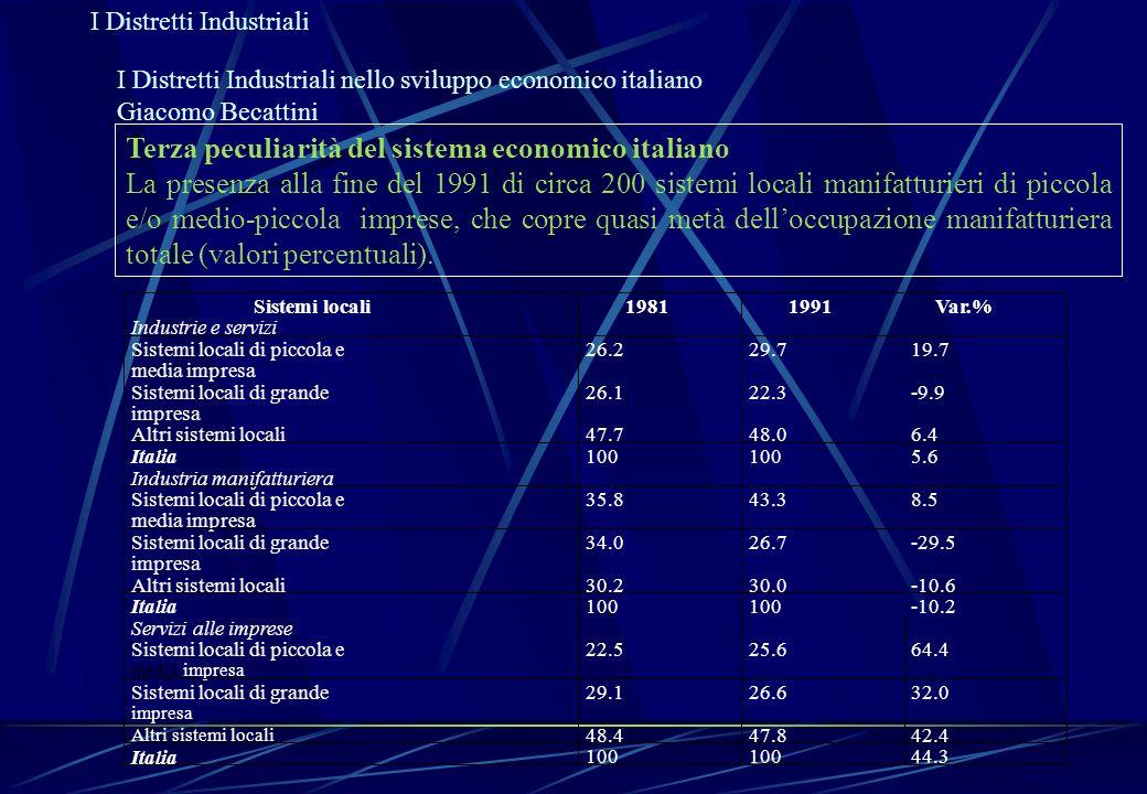 I Distretti Industriali I Distretti Industriali nello sviluppo economico italiano Giacomo Becattini Terza peculiarità del sistema economico italiano L
