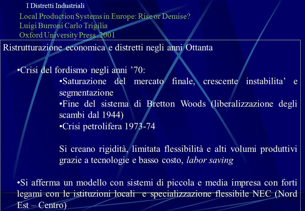 I Distretti Industriali Local Production Systems in Europe: Rise or Demise? Luigi Burroni Carlo Trigilia Oxford University Press,2001 Ristrutturazione