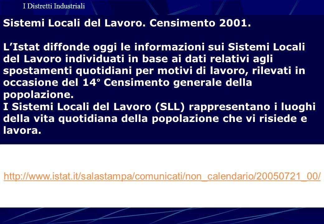 I Distretti Industriali Sistemi Locali del Lavoro. Censimento 2001. LIstat diffonde oggi le informazioni sui Sistemi Locali del Lavoro individuati in