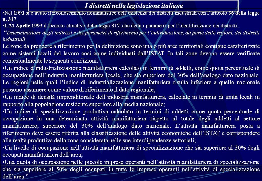 Nel 1991 si è avuto il riconoscimento nominalistico dellesistenza dei distretti industriali con larticolo 36 della legge n. 317. Il 21 Aprile 1993 il