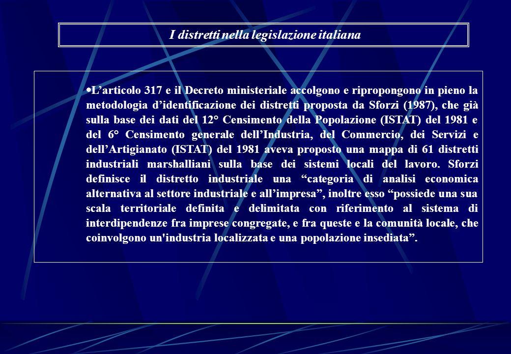 Larticolo 317 e il Decreto ministeriale accolgono e ripropongono in pieno la metodologia didentificazione dei distretti proposta da Sforzi (1987), che