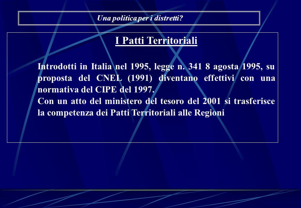 I Patti Territoriali Introdotti in Italia nel 1995, legge n. 341 8 agosta 1995, su proposta del CNEL (1991) diventano effettivi con una normativa del