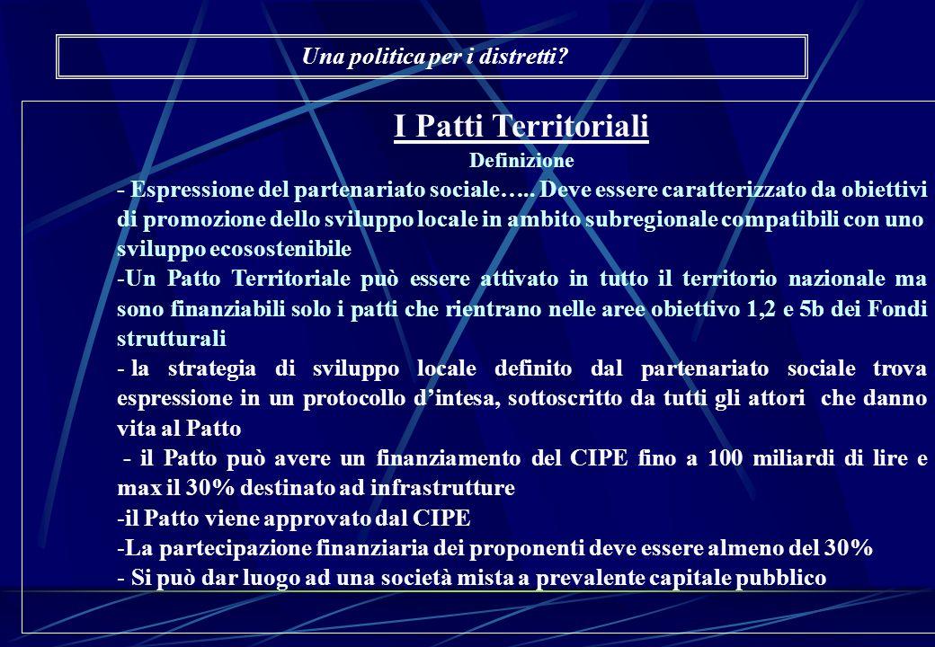 I Patti Territoriali Definizione - Espressione del partenariato sociale….. Deve essere caratterizzato da obiettivi di promozione dello sviluppo locale