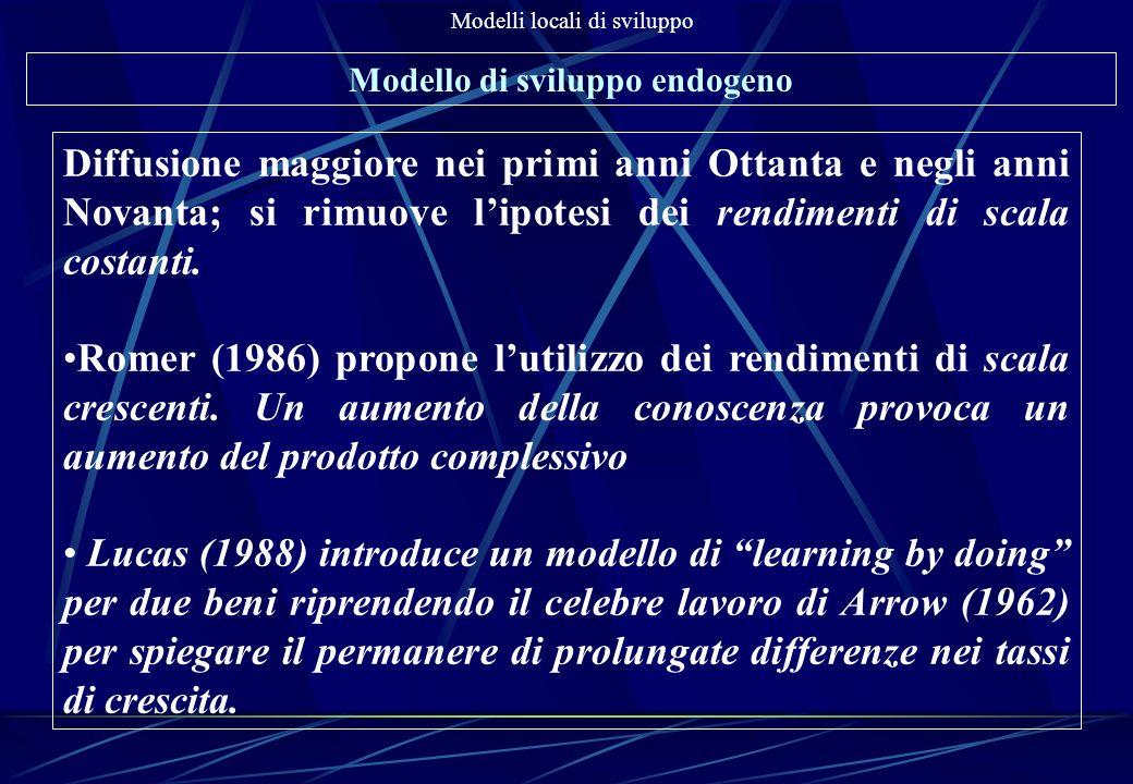 Modelli locali di sviluppo Modello di sviluppo endogeno In Italia gli studiosi dello sviluppo endogeno privilegiano lo studio dei sistemi locali di piccola e media impresa e cioè dei Distretti industriali Perchè.