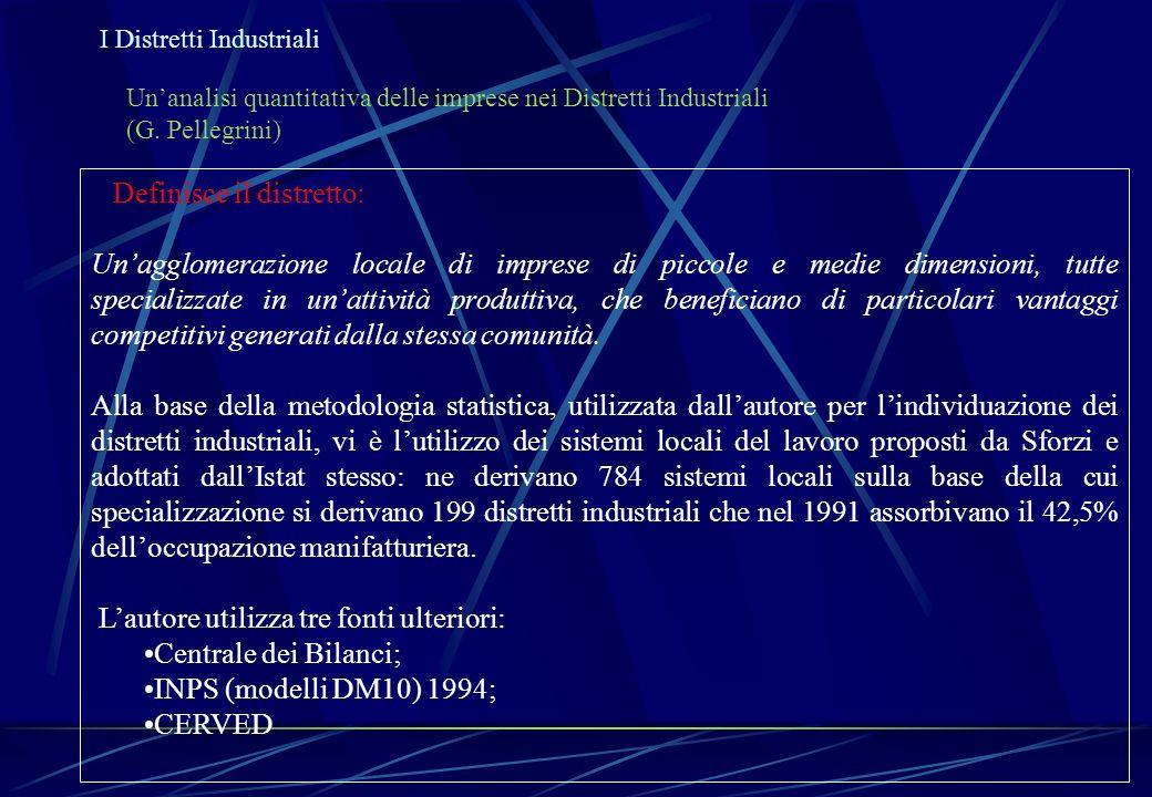 Unanalisi quantitativa delle imprese nei Distretti Industriali (G. Pellegrini) Definisce il distretto: Unagglomerazione locale di imprese di piccole e