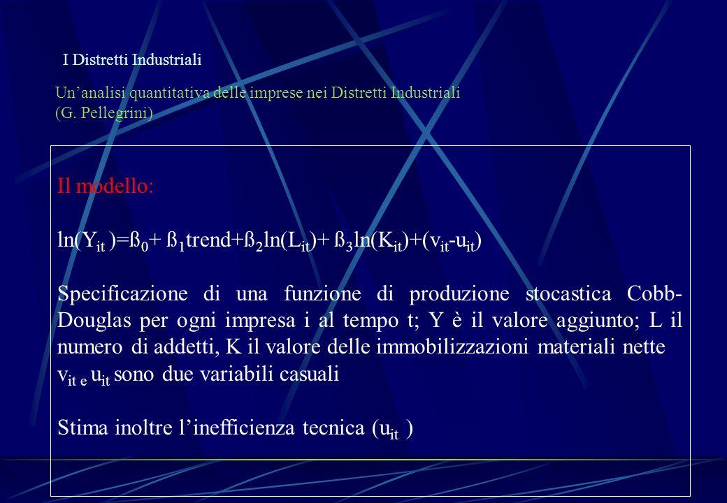 I Distretti Industriali Unanalisi quantitativa delle imprese nei Distretti Industriali (G. Pellegrini) Il modello: ln(Y it )=ß 0 + ß 1 trend+ß 2 ln(L