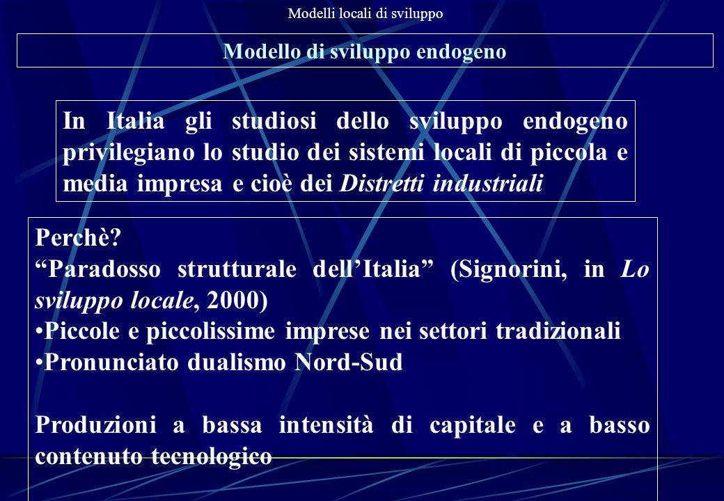 Modelli locali di sviluppo Modello di sviluppo endogeno In Italia gli studiosi dello sviluppo endogeno privilegiano lo studio dei sistemi locali di pi