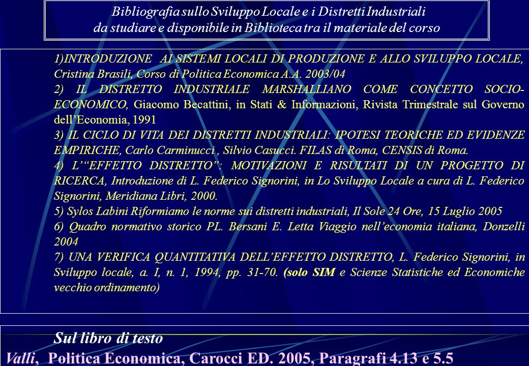 1)INTRODUZIONE AI SISTEMI LOCALI DI PRODUZIONE E ALLO SVILUPPO LOCALE, Cristina Brasili, Corso di Politica Economica A.A. 2003/04 2) IL DISTRETTO INDU