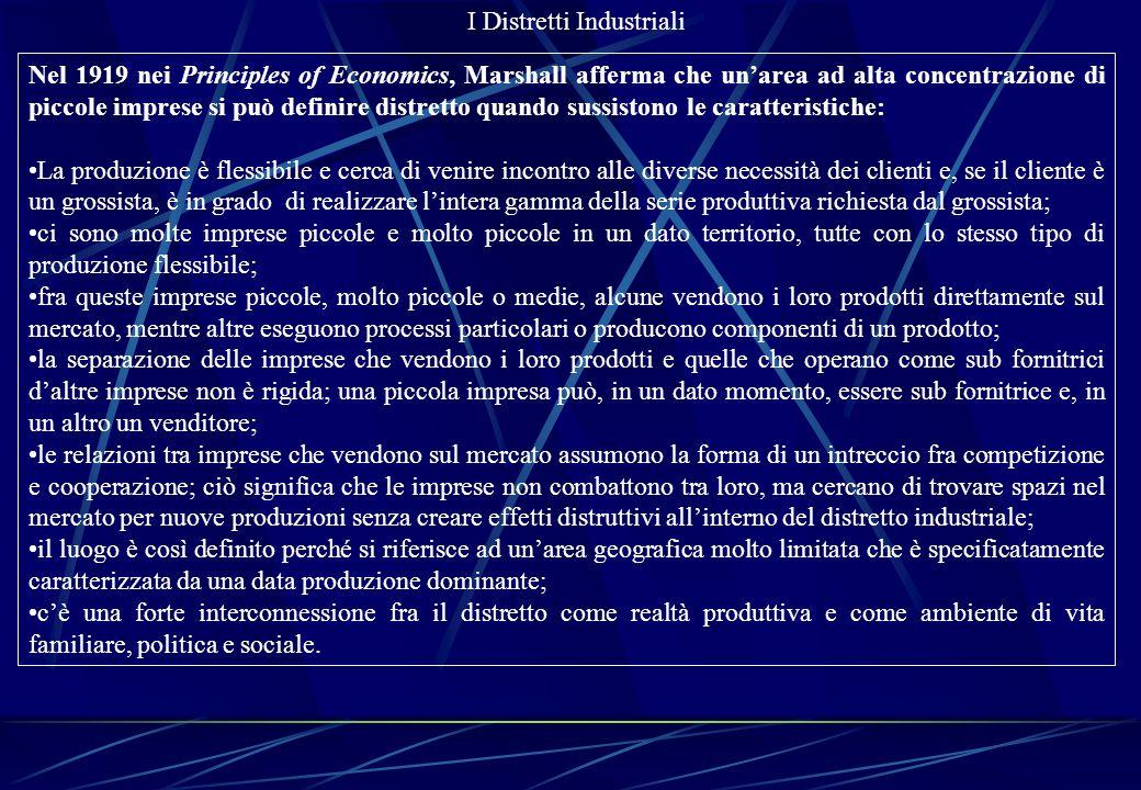I Distretti Industriali Dal distretto marshalliano come categoria di analisi ……...