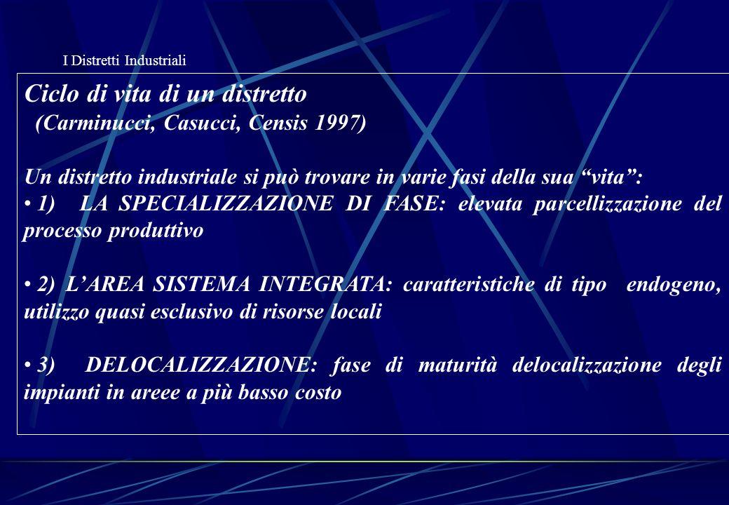 I Distretti Industriali (continua) Ciclo di vita di un distretto ( Censis 1997) 4) LA GERARCHIZZAZIONE CON CRESCITA PER LINEE INTERNE: per rispondere alla turbolenza dei mercati reinternalizzano alcune fasi e funzioni, emergono alcune imprese leader 5) LA CONCENTRAZIONE DIREZIONALE: le imprese leader dellarea finiscono sotto la proprietà di pochi soggetti interni 6) LA GERARCHIZZAZIONE CON CRESCITA PER LINEE ESTERNE: le imprese pur rimanendo indipendenti definiscono un sistema di accordi strutturati come se si trattasse di ununica grande azienda 7) IL RIPOSIZIONAMENTO: spostamento su nuove nicchie di mercato