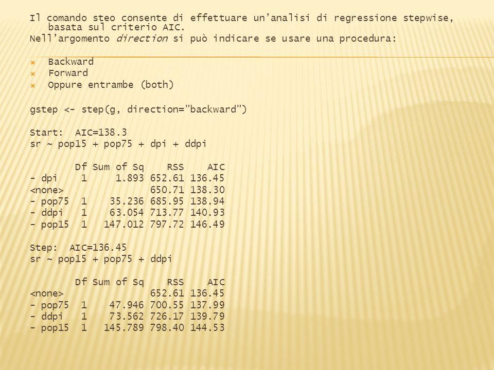 Il comando steo consente di effettuare unanalisi di regressione stepwise, basata sul criterio AIC.