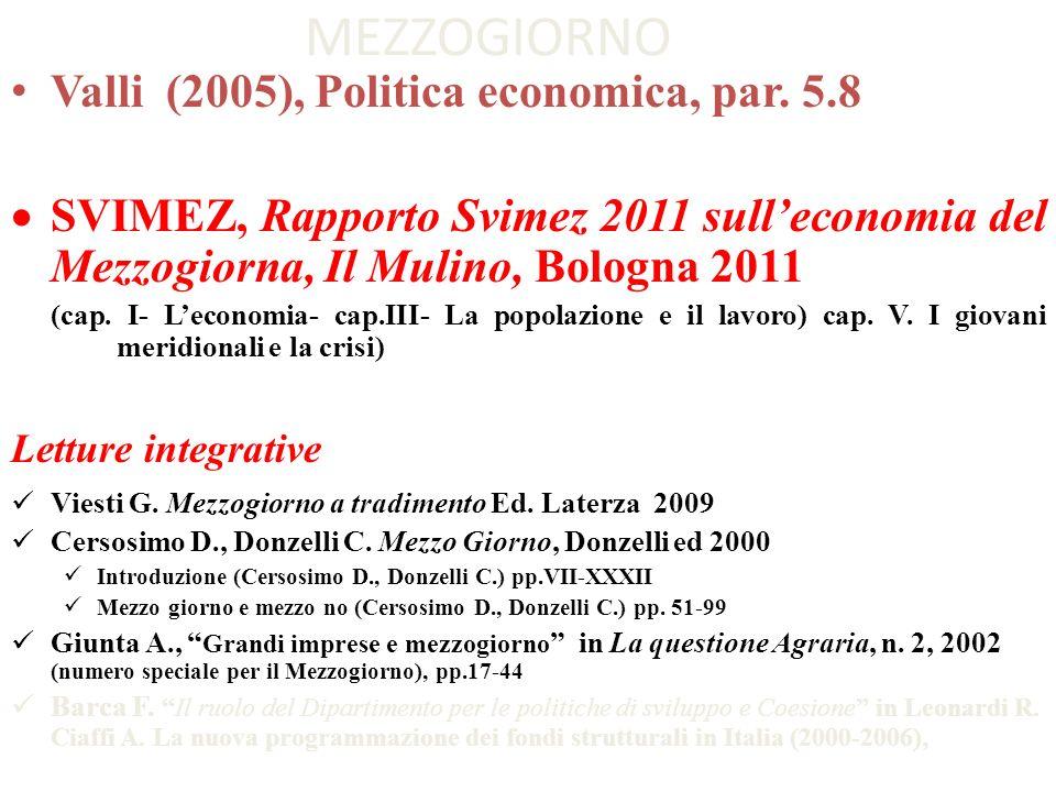 MEZZOGIORNO Valli (2005), Politica economica, par. 5.8 SVIMEZ, Rapporto Svimez 2011 sulleconomia del Mezzogiorna, Il Mulino, Bologna 2011 (cap. I- Lec