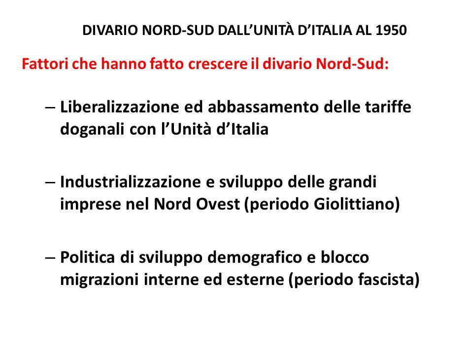 DIVARIO NORD-SUD DALLUNITÀ DITALIA AL 1950 Fattori che hanno fatto crescere il divario Nord-Sud: – Liberalizzazione ed abbassamento delle tariffe doga