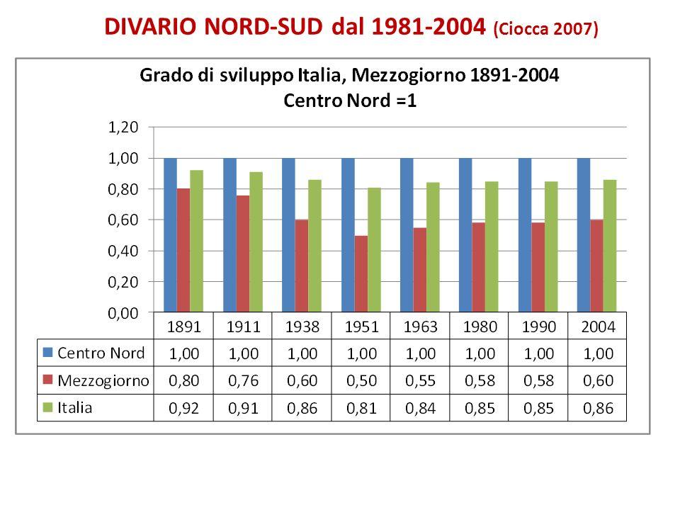 DIVARIO NORD-SUD dal 1981-2004 (Ciocca 2007)