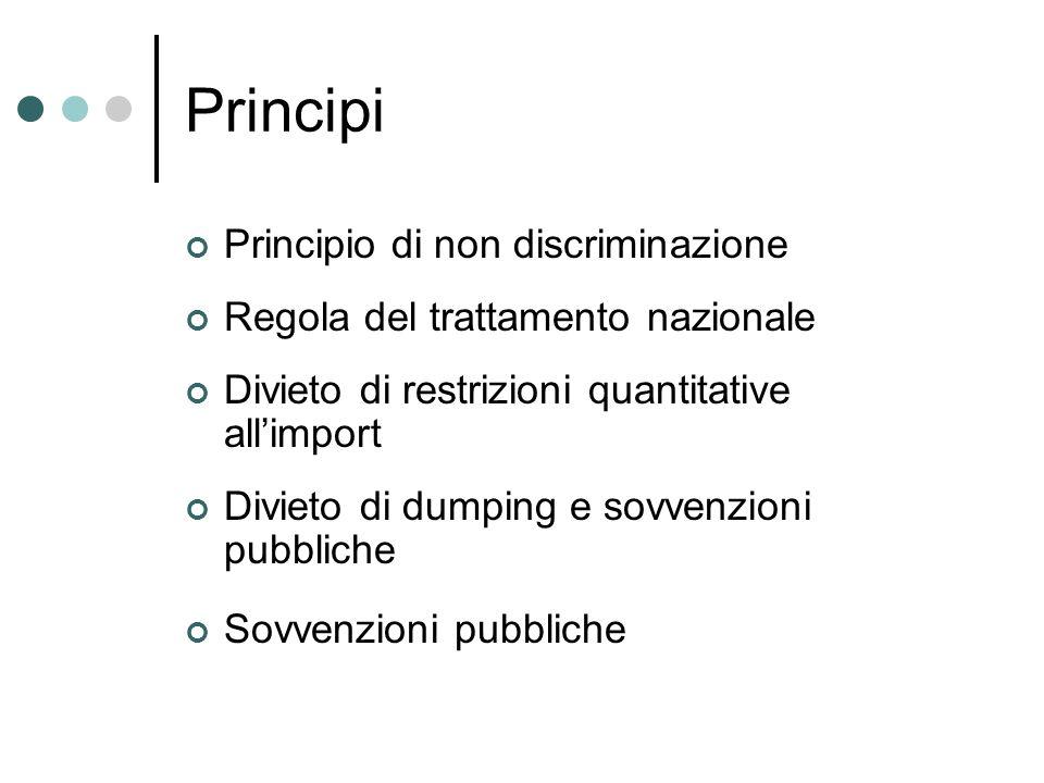 Principi Principio di non discriminazione Regola del trattamento nazionale Divieto di restrizioni quantitative allimport Divieto di dumping e sovvenzi