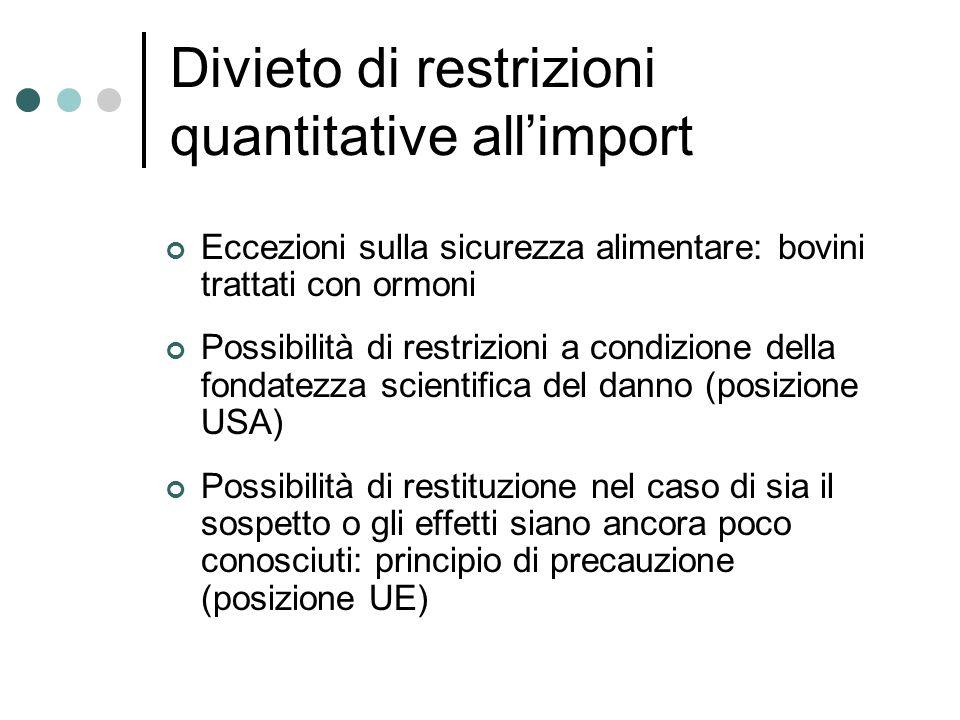 Divieto di restrizioni quantitative allimport Eccezioni sulla sicurezza alimentare: bovini trattati con ormoni Possibilità di restrizioni a condizione