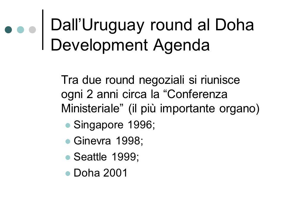 DallUruguay round al Doha Development Agenda Tra due round negoziali si riunisce ogni 2 anni circa la Conferenza Ministeriale (il più importante organ