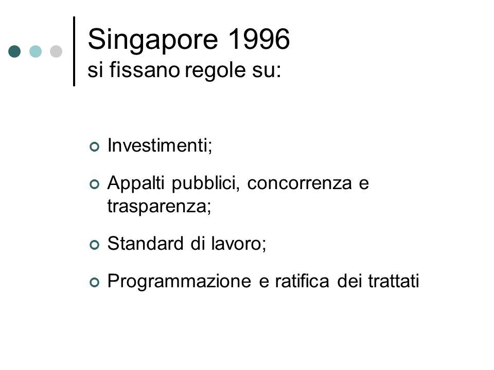 Singapore 1996 si fissano regole su: Investimenti; Appalti pubblici, concorrenza e trasparenza; Standard di lavoro; Programmazione e ratifica dei trat