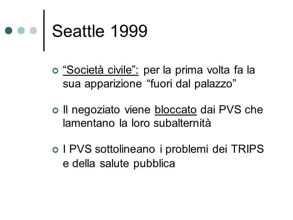 Seattle 1999 Società civile: per la prima volta fa la sua apparizione fuori dal palazzo Il negoziato viene bloccato dai PVS che lamentano la loro suba