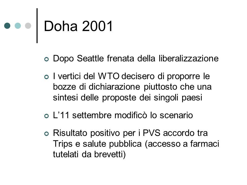 Doha 2001 Dopo Seattle frenata della liberalizzazione I vertici del WTO decisero di proporre le bozze di dichiarazione piuttosto che una sintesi delle