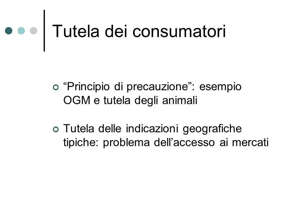 Tutela dei consumatori Principio di precauzione: esempio OGM e tutela degli animali Tutela delle indicazioni geografiche tipiche: problema dellaccesso