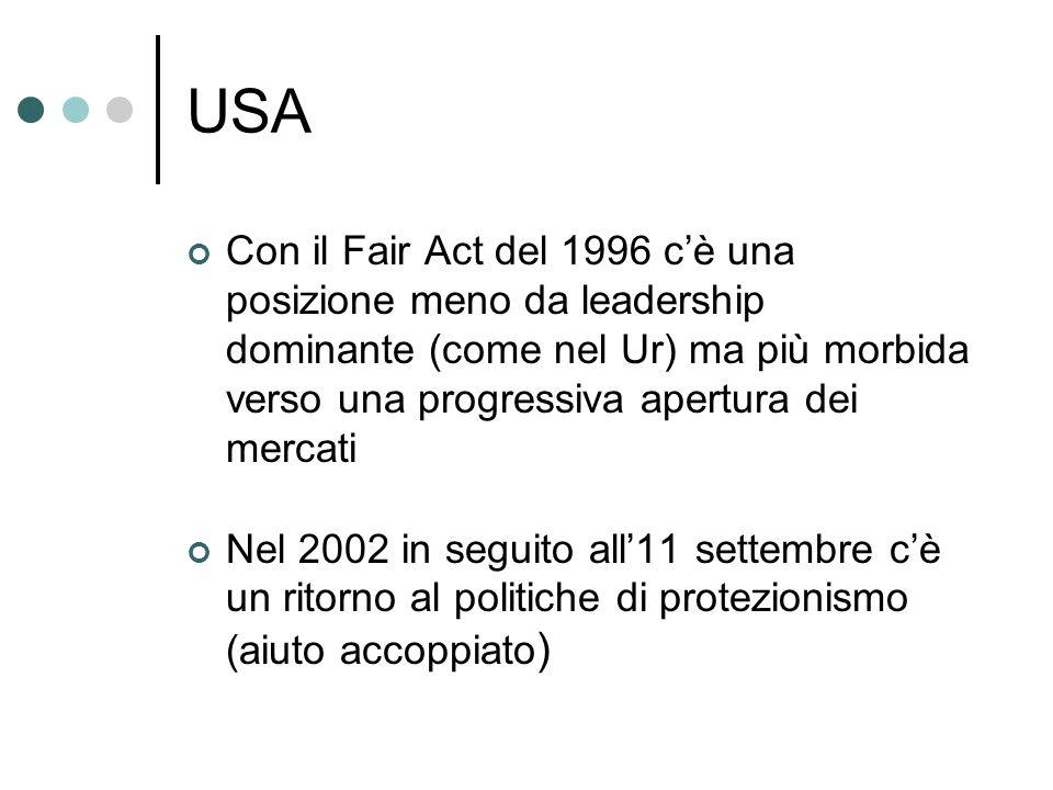 USA Con il Fair Act del 1996 cè una posizione meno da leadership dominante (come nel Ur) ma più morbida verso una progressiva apertura dei mercati Nel