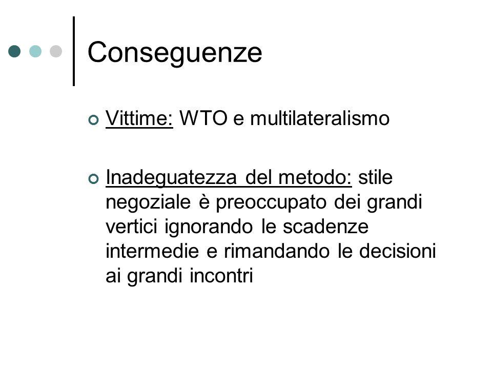 Conseguenze Vittime: WTO e multilateralismo Inadeguatezza del metodo: stile negoziale è preoccupato dei grandi vertici ignorando le scadenze intermedi