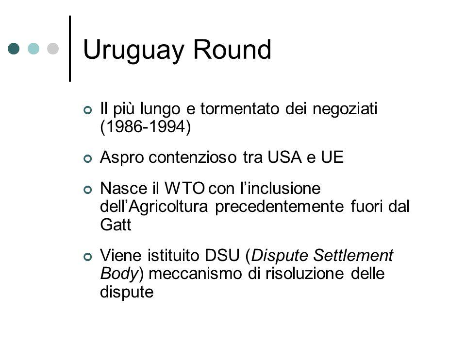 Uruguay Round Il più lungo e tormentato dei negoziati (1986-1994) Aspro contenzioso tra USA e UE Nasce il WTO con linclusione dellAgricoltura preceden