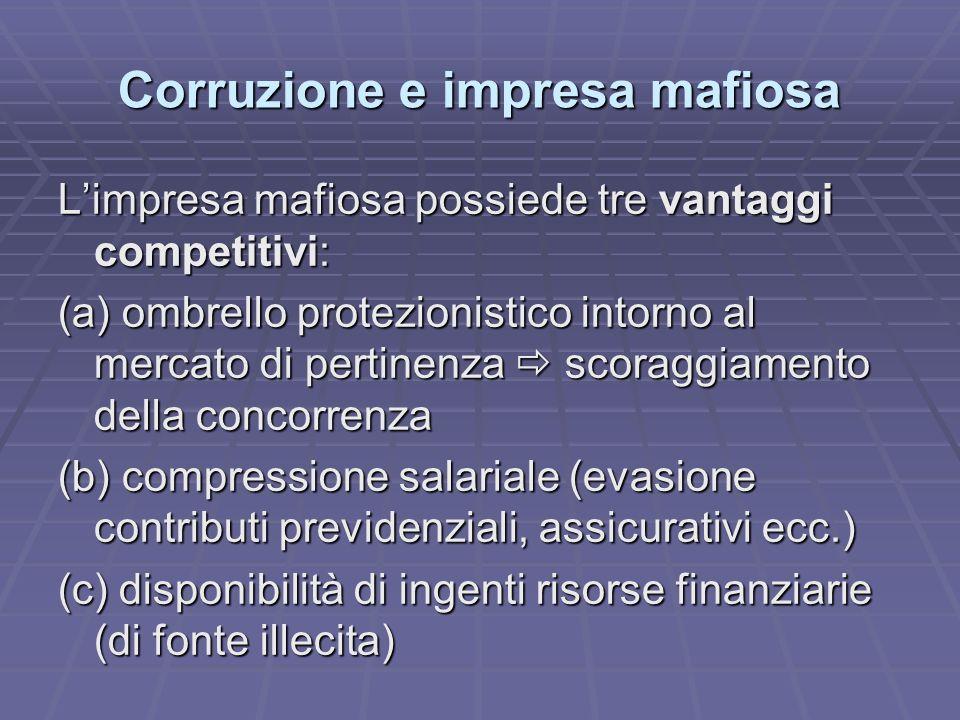 Corruzione e impresa mafiosa Limpresa mafiosa possiede tre vantaggi competitivi: (a) ombrello protezionistico intorno al mercato di pertinenza scoraggiamento della concorrenza (b) compressione salariale (evasione contributi previdenziali, assicurativi ecc.) (c) disponibilità di ingenti risorse finanziarie (di fonte illecita)