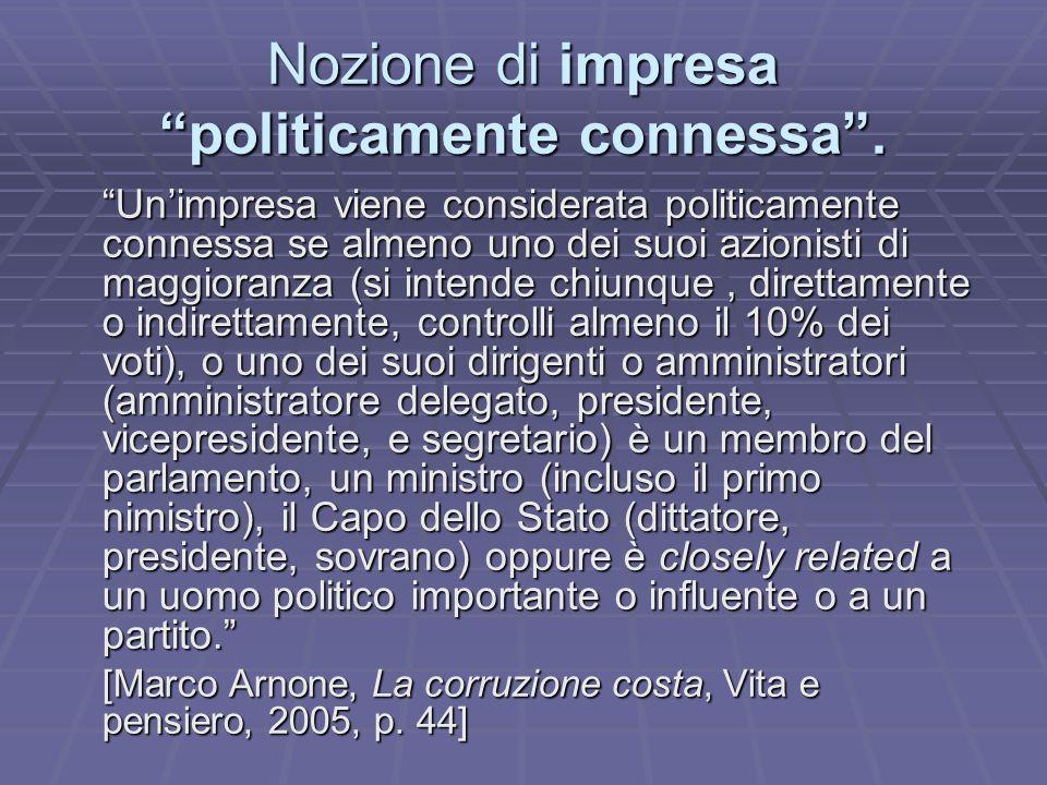 Nozione di impresa politicamente connessa.