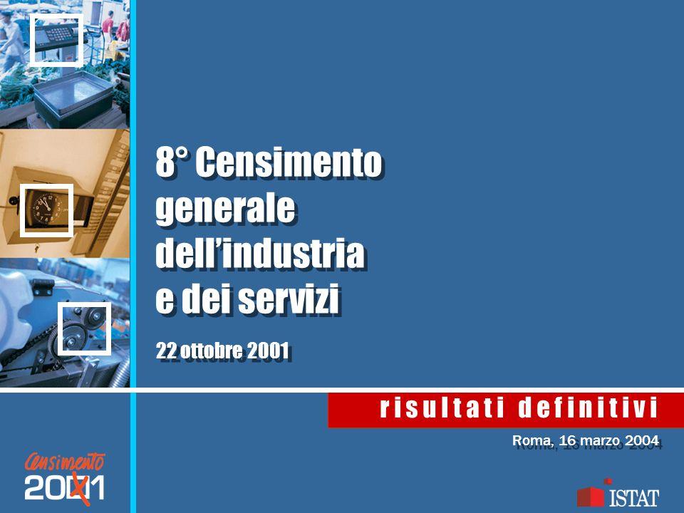 Roma, 16 marzo 2004 r i s u l t a t i d e f i n i t i v i 8° Censimento generale dellindustria e dei servizi 22 ottobre 2001