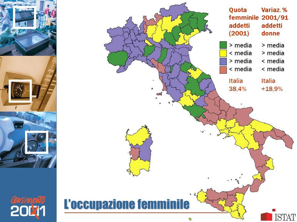Loccupazione femminile QuotaVariaz. % femminile2001/91addetti (2001)donne> media media > media< media< mediaItalia 38,4%+18,9%