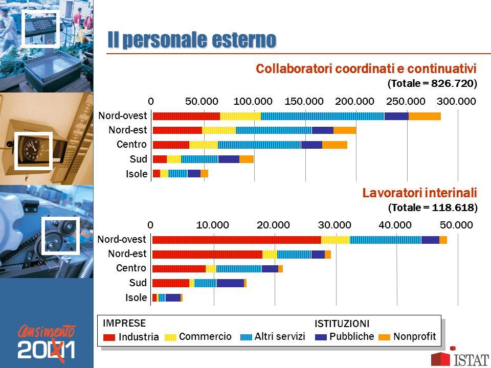 Il personale esterno Lavoratori interinali (Totale = 118.618) Collaboratori coordinati e continuativi (Totale = 826.720) 050.000100.000150.000200.0002