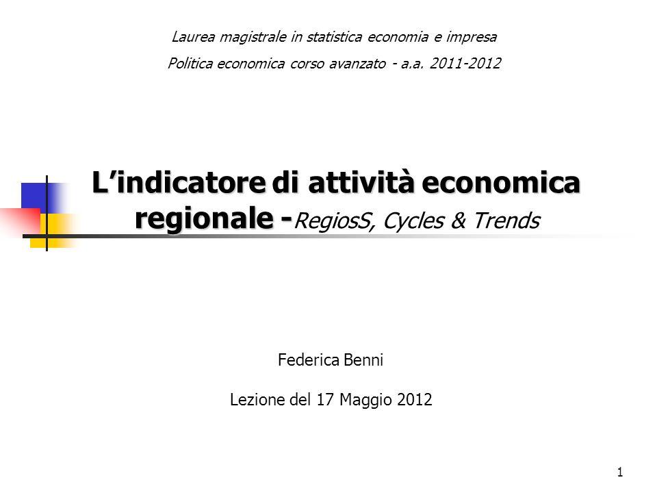 1 Lindicatore di attività economica regionale - Lindicatore di attività economica regionale - RegiosS, Cycles & Trends Federica Benni Lezione del 17 M
