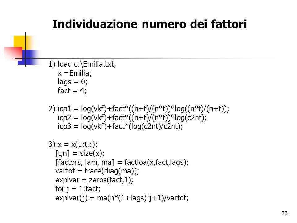 23 Individuazione numero dei fattori 1) load c:\Emilia.txt; x =Emilia; lags = 0; fact = 4; 2) icp1 = log(vkf)+fact*((n+t)/(n*t))*log((n*t)/(n+t)); icp2 = log(vkf)+fact*((n+t)/(n*t))*log(c2nt); icp3 = log(vkf)+fact*(log(c2nt)/c2nt); 3) x = x(1:t,:); [t,n] = size(x); [factors, lam, ma] = factloa(x,fact,lags); vartot = trace(diag(ma)); explvar = zeros(fact,1); for j = 1:fact; explvar(j) = ma(n*(1+lags)-j+1)/vartot;