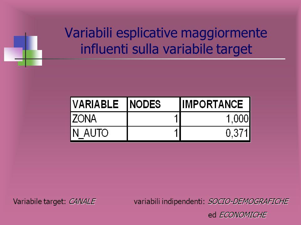 Rappresentazione grafica dellalbero CANALE SOCIO-DEMOGRAFICHE Variabile target: CANALE variabili indipendenti: SOCIO-DEMOGRAFICHE ECONOMICHE ed ECONOM