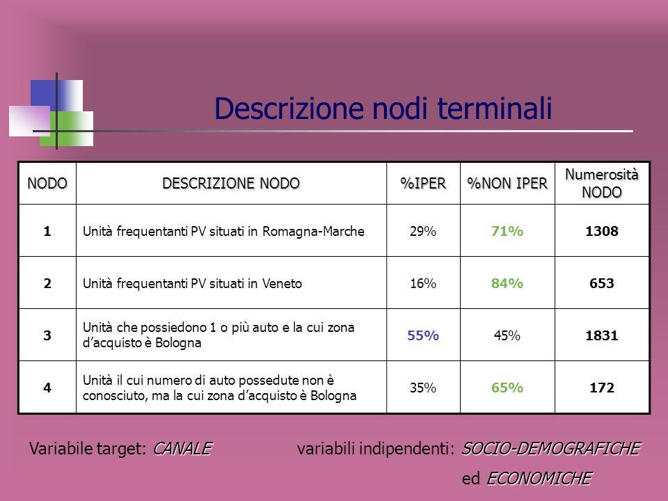 Variabili esplicative maggiormente influenti sulla variabile target CANALE SOCIO-DEMOGRAFICHE Variabile target: CANALE variabili indipendenti: SOCIO-D