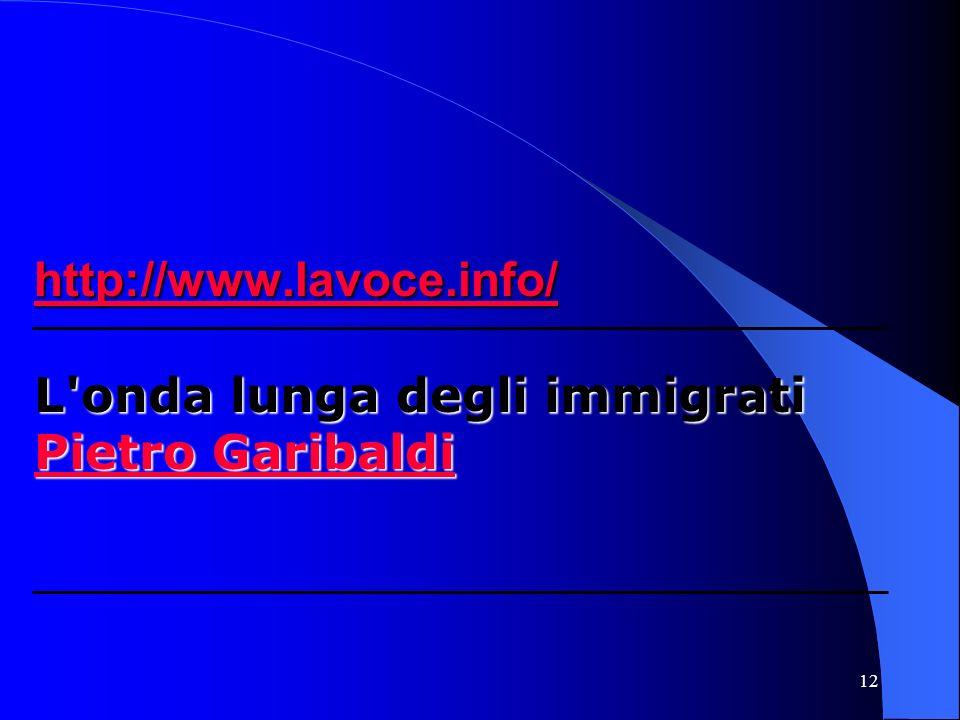 12 http://www.lavoce.info/ http://www.lavoce.info/ L onda lunga degli immigrati Pietro Garibaldi Pietro Garibaldi http://www.lavoce.info/ Pietro Garibaldi