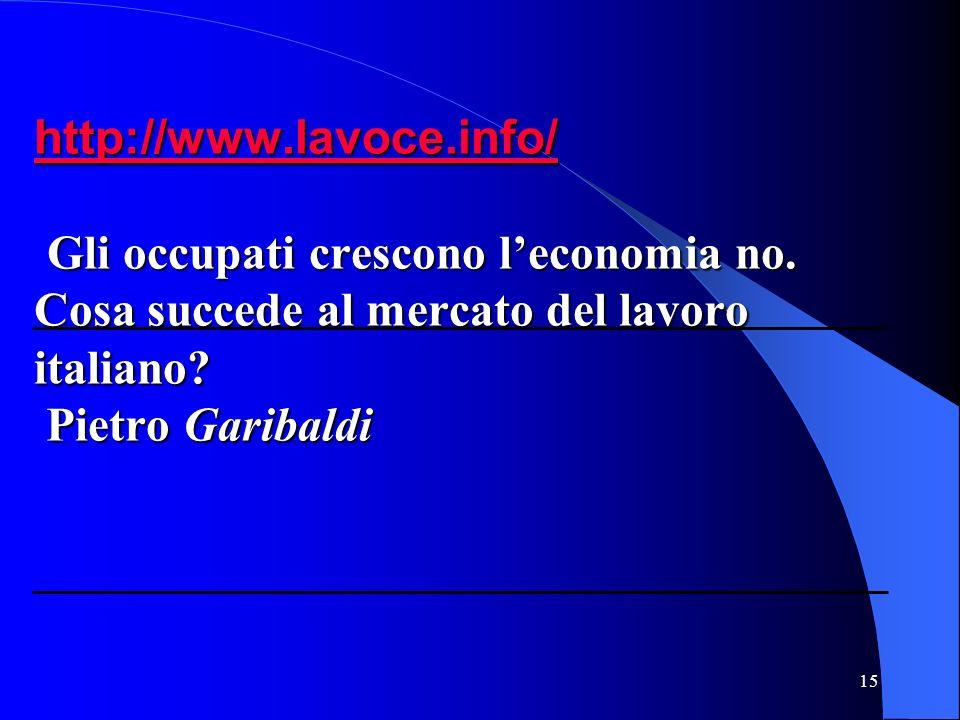 15 http://www.lavoce.info/ http://www.lavoce.info/ Gli occupati crescono leconomia no.