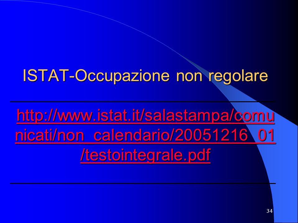 34 ISTAT-Occupazione non regolare http://www.istat.it/salastampa/comu nicati/non_calendario/20051216_01 /testointegrale.pdf http://www.istat.it/salastampa/comu nicati/non_calendario/20051216_01 /testointegrale.pdf http://www.istat.it/salastampa/comu nicati/non_calendario/20051216_01 /testointegrale.pdf