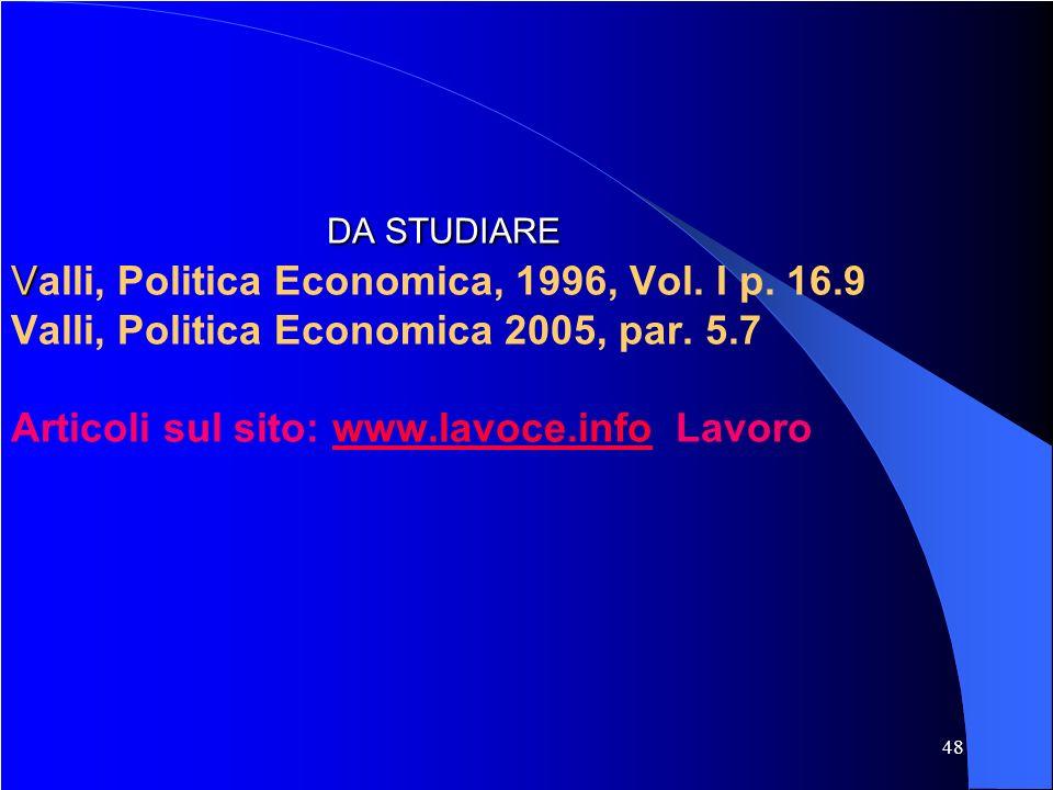 48 DA STUDIARE V DA STUDIARE Valli, Politica Economica, 1996, Vol.