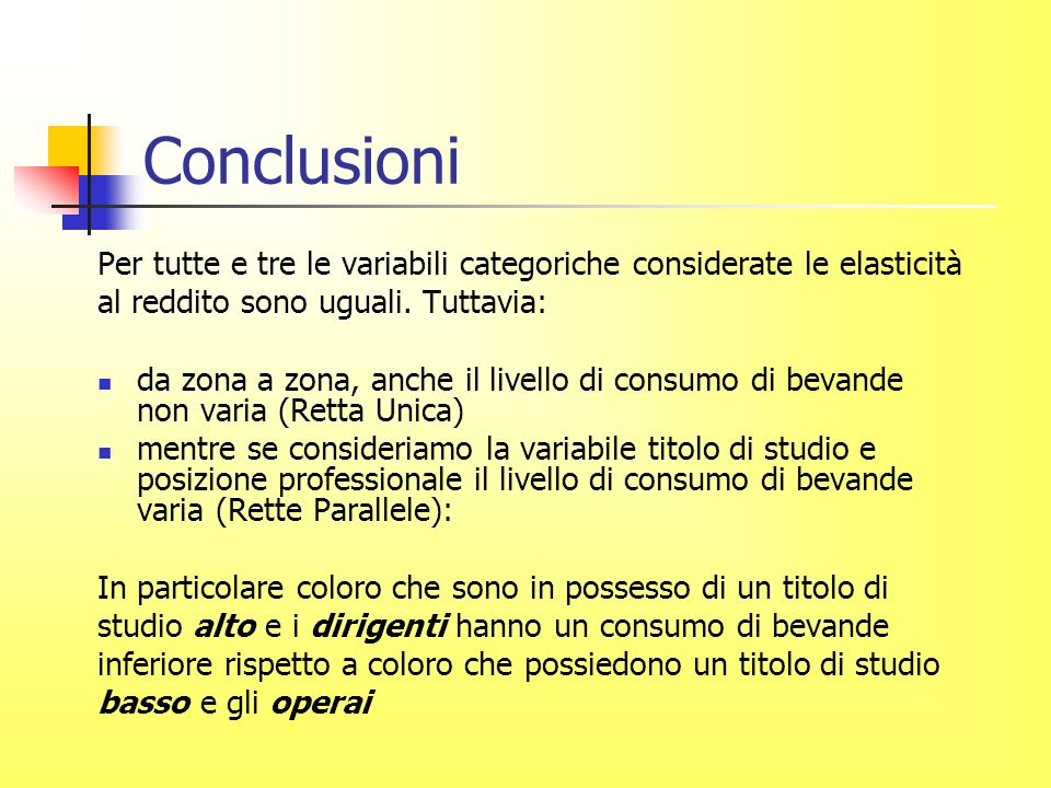 Conclusioni Per tutte e tre le variabili categoriche considerate le elasticità al reddito sono uguali.